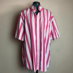 Tommy Hilfiger 80s Vibe Pink Striped Collared T-Shirt - Size Extra Large
